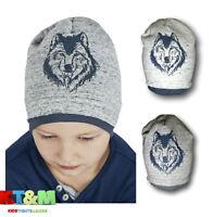 New Boys Kids Children Warm Winter Acrylic Hat Cap Beanie And Snood Set 4-7Years