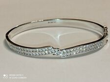 Sterling Silver 925 Cubic Zirconia Bangle Bracelet 15g.Hallmarked.