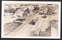 1940 Real Photo Postcard Birds Eye View Train At Railroad Depot DAUPHIN Manitoba