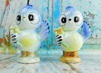 Vintage Japan ANTHROPOMORPHIC Birds Salt Pepper Shakers Set Midcentury Flowers