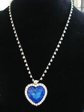 Titanic Heart of the Ocean Blue Heart Pendant Necklace new for 2016