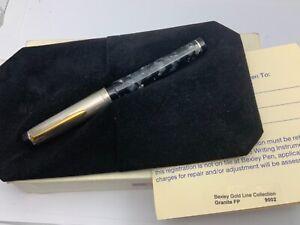 Bexley Goldline Granite fountain pen 14k Broad nib