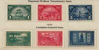 1924 Huguenot Sc 614-616 & Lexington Sc 617-619 MH OG fresh sets
