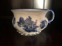 Royal Doulton Burslem Gloire De Dijon Flow Blue Chamber Pot C1900s Floral