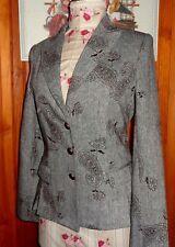 Veste blazer 40 tweed gris motif cachemire noir créations HAZAN PARIS