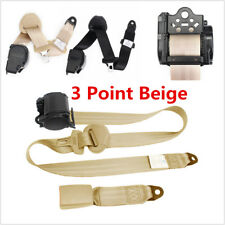 Beige 3 Point Car Front Seat Belt Buckle Kit Retractable Automatic Safety Straps