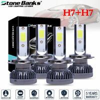 4PCS Mini H7 + H7 Combo COB LED Healight Bulbs High Low Beam 240W 52000LM 6000K