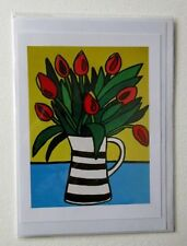 HANDMADE GREETING CARD TULIP FLOWERS IN A JUG VASE 7 X 5 INCHES