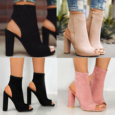 Womens Block High Heels Ankle Boots Peep Toe Sandals Pumps Zip Chunky Shoes AU
