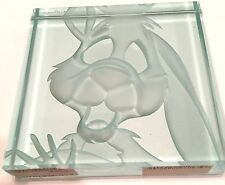 Disney Robert Guenther Signed LE 155/ 1000 Glass Block Paperweight Rabbit  Rare