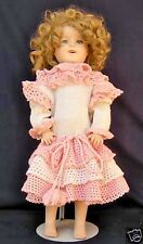 "Vintage Shirley Temple Reproduction Porcelain Ceramic Doll 24"" Laura 1985 W/Wig"