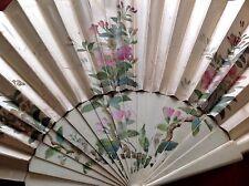 Antique Bovine Cow Bone Hand Painted Silk Fan For Repair