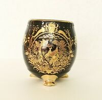 Black & Gold Peacock  Ceramic Fish Bowl Bamboo Flower Vase Planter Pot Container