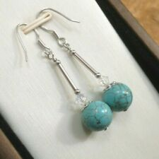9mm Turquoise, Crystal made with Swarovski & Sterling Silver - Drop Earrings