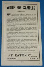 "VINTAGE T. EATON CO. ""WRITE FOR SAMPLES"" LEAFLET"