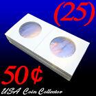 (25) Half Dollar Size 2x2 Mylar Cardboard Coin Flips Storage | 50 Cent Holder