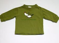 "Gymboree LS Reindeer ""Is It Too Late To Be Good?"" Green Top, 3-6 mos."