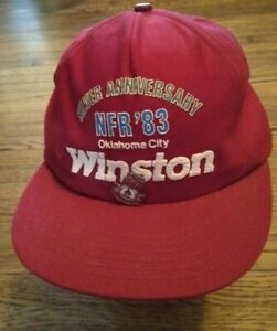 Winston National Finals Rodeo Trucker Hat 1983 Oklahoma City nfr w/ pin 25th