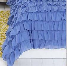 Shabby Violet Blue French Country Chic Ruffles King Duvet Doona Quilt Cover New
