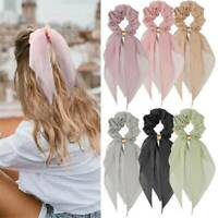 Chiffon Ponytail Scarf Bow Elastic Hair Rope Tie Scrunchies Ribbon Bands Hairtie