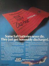 9/1982 PUB SAFT NICKEL CADMIUM AIRCRAFT BATTERIES FALCON 20 FEDERAL EXPRESS AD