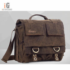 EIRMAI Coffee canvas DSLR Camera Bag Messenger Shoulder Bag sz M For Canon Nikon