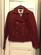 American Eagle Pea Coat Jacket S Burgundy Maroon Red Button Up Vintage 2000s