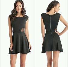 New Guess black Mesh-Inset Shirred Dress size S