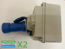 2 X INDUSTRIAL SWITCHED INTERLOCK SOCKET & PLUG 240V BLUE 2 P&E 16a SI16324