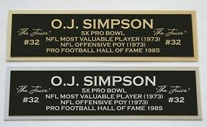 OJ Simpson nameplate for signed autographed jersey football helmet or photo