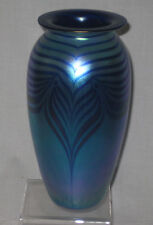 """Art glass pulled feather blue iridescent 8.5"""" tall, dated 1993 signed."""