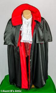 Cape-19th Century Dickens Style Cape Vest Jabot Blk & Red Costume