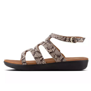 FITFLOP Women's US 9 Taupe Snake Embossed Strata Gladiator Wedge Open Toe Sandal