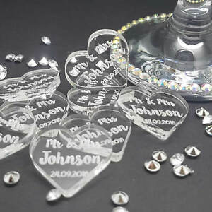 Personalised Mr & Mrs Acrylic Heart Wedding Table Decorations - Scatter Favours.