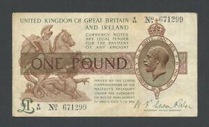 ENGLAND £1 Fisher 1919  KGV  T24 Treasury Banknotes