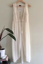 Dotti Ivory Lace Sleeveless Duster Cover Up Tassels Floaty Size 8 10 Boho Gypsy