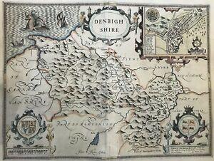 1610 Antique & Rare Map by John Speed: Denbighshire