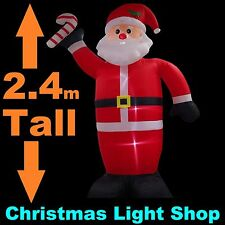 2.4m Tall Inflatable Santa & Candy Cane Christmas Outdoor Air Power LED Lights