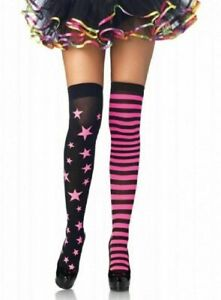 Womens Thigh High Stockings Stars and Stripes Neon Pink