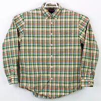 Lands End Mens Long Sleeve Button Down Shirt Size Large L 16-16.5 Colorful Plaid