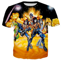 KISS funny 3D print womens/mens Short Sleeve T-Shirt Casual Tops S-5XL QM7