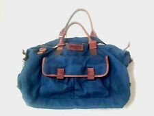 Duluth Trading Co Navy Blue  Cotton Leather Trim Duffle Duffel Weekender Bag