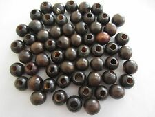 "Lot of 60 Small Walnut Wood Round Macrame Wooden Craft Beads 3/4"" 18mm"