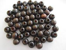 "Lot of 60 Small Walnut Wood Round Macrame Wooden Craft Beads 3/4"" 18mm"