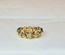 14 KT SOLID YELLOW GOLD THREE ROSE RING SIZE 7
