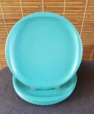 Boonton Ware Mid Century Aqua Speckle Wingtip (4) Dinner Plates 10in
