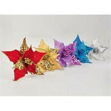 10Pcs Glitter Hollow  Christmas Flower Wedding Party Xmas Tree Decorations