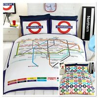 Rapport London Underground Fully Reversible Map Stations Duvet Cover Bedding Set