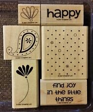 Stampin' Up POLKA DOTS & PAISLEY Set of 6  Mounted Rubber Stamps Lot Flower