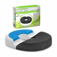 Donut Pillow Hemorrhoid Seat Cushion - Cooling Gel Memory Foam Relief Tailbon...
